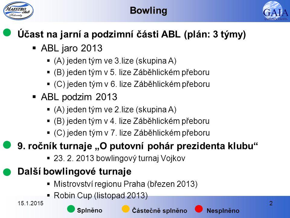 Bowling Účast na jarní a podzimní části ABL (plán: 3 týmy)  ABL jaro 2013  (A) jeden tým ve 3.lize (skupina A)  (B) jeden tým v 5. lize Záběhlickém