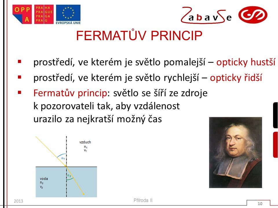 FERMATŮV PRINCIP  prostředí, ve kterém je světlo pomalejší – opticky hustší  prostředí, ve kterém je světlo rychlejší – opticky řidší  Fermatův princip: světlo se šíří ze zdroje k pozorovateli tak, aby vzdálenost urazilo za nejkratší možný čas Příroda II 10 2013