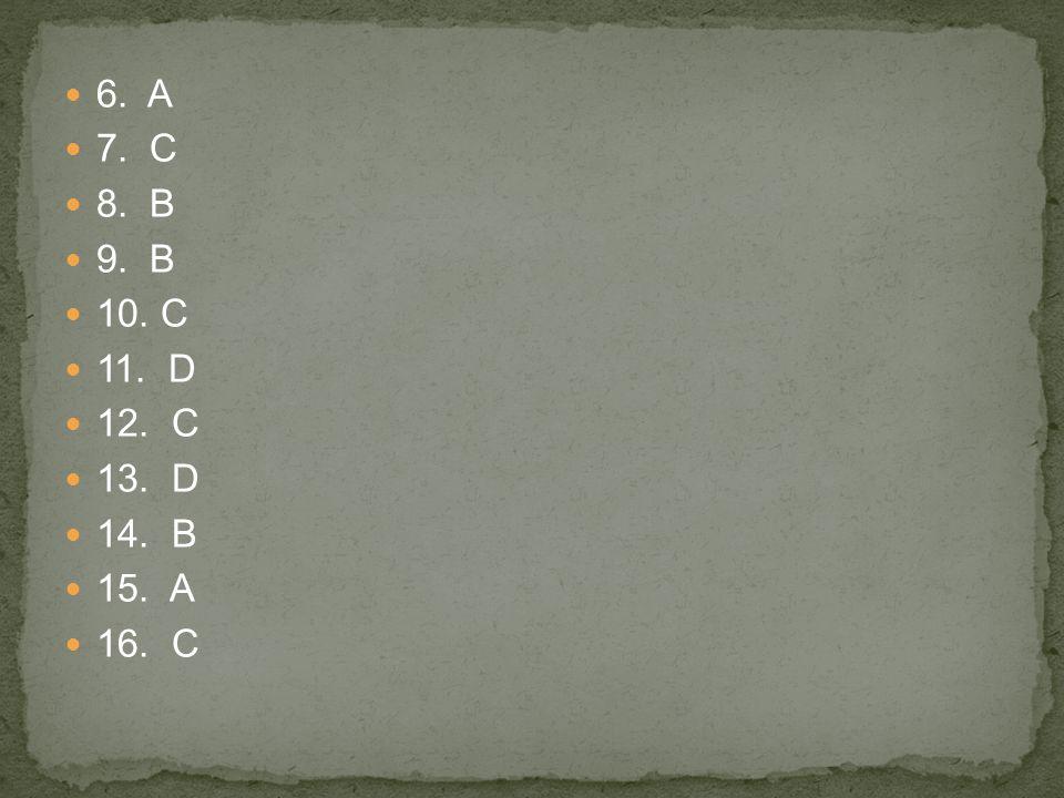 6. A 7. C 8. B 9. B 10. C 11. D 12. C 13. D 14. B 15. A 16. C