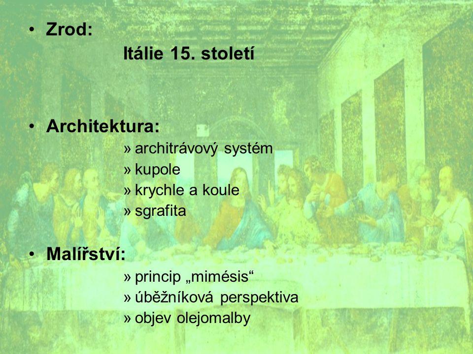 """Zrod: Itálie 15. století Architektura: »architrávový systém »kupole »krychle a koule »sgrafita Malířství: »princip """"mimésis"""" »úběžníková perspektiva »"""