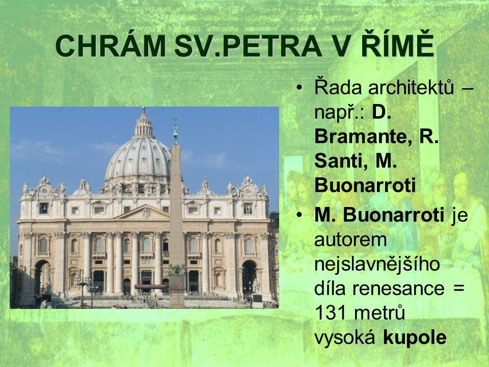 CHRÁM SV.PETRA V ŘÍMĚ Řada architektů – např.: D.Bramante, R.