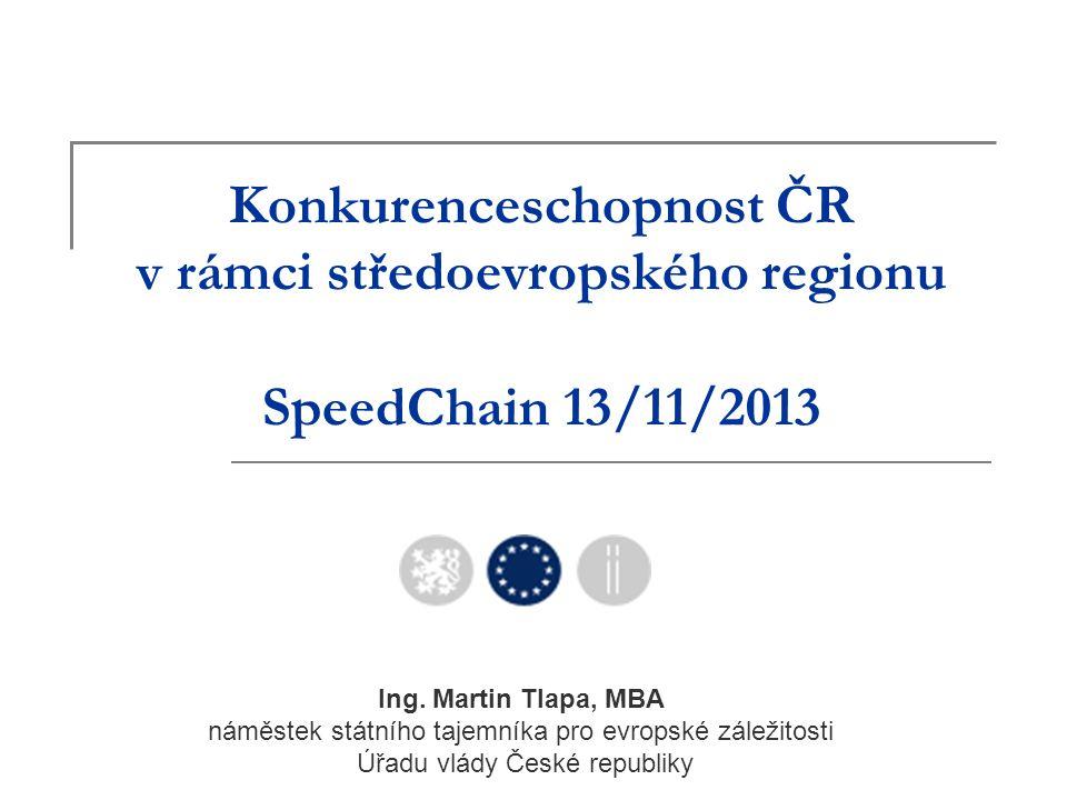 Konkurenceschopnost ČR v rámci středoevropského regionu SpeedChain 13/11/2013 Ing. Martin Tlapa, MBA náměstek státního tajemníka pro evropské záležito
