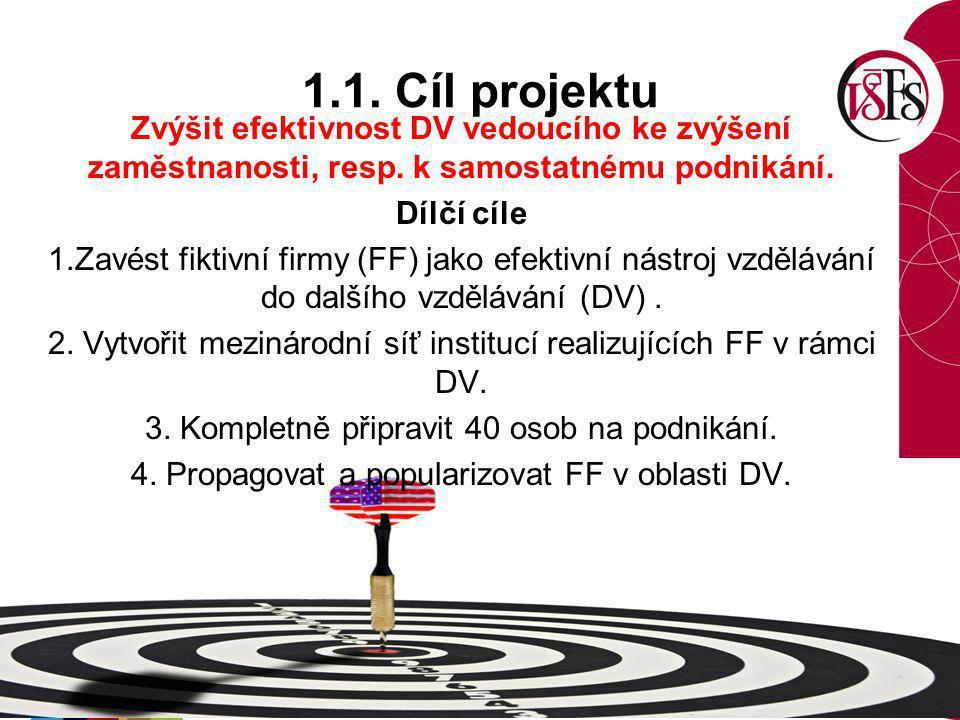 1.1. Cíl projektu Zvýšit efektivnost DV vedoucího ke zvýšení zaměstnanosti, resp. k samostatnému podnikání. Dílčí cíle 1.Zavést fiktivní firmy (FF) ja