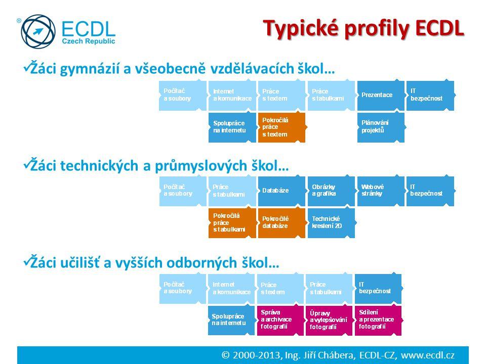 © 2000-2013, Ing. Jiří Chábera, ECDL-CZ, www.ecdl.cz Typické profily ECDL Žáci gymnázií a všeobecně vzdělávacích škol… Žáci technických a průmyslových