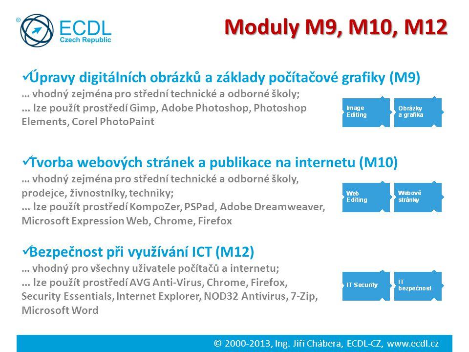 © 2000-2013, Ing. Jiří Chábera, ECDL-CZ, www.ecdl.cz Bezpečnost při využívání ICT (M12) … vhodný pro všechny uživatele počítačů a internetu;... lze po