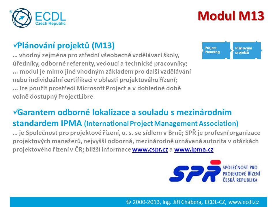 © 2000-2013, Ing. Jiří Chábera, ECDL-CZ, www.ecdl.cz Modul M13 Plánování projektů (M13) … vhodný zejména pro střední všeobecně vzdělávací školy, úředn