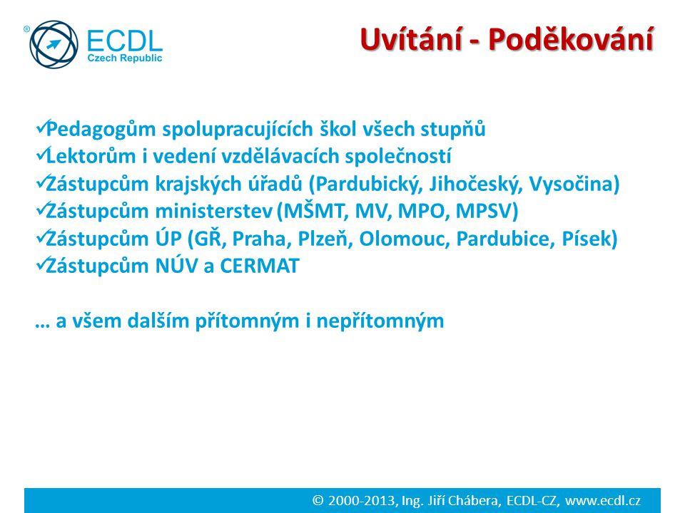 © 2000-2013, Ing. Jiří Chábera, ECDL-CZ, www.ecdl.cz ECDL Advanced / Expert 3