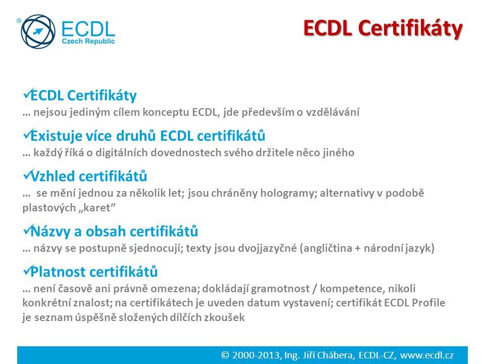 © 2000-2013, Ing. Jiří Chábera, ECDL-CZ, www.ecdl.cz ECDL Certifikáty … nejsou jediným cílem konceptu ECDL, jde především o vzdělávání Existuje více d