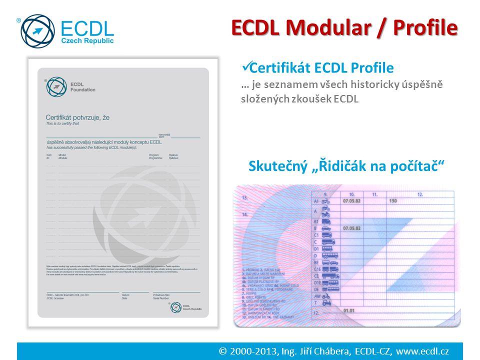 """© 2000-2013, Ing. Jiří Chábera, ECDL-CZ, www.ecdl.cz ECDL Modular / Profile Skutečný """"Řidičák na počítač"""" Certifikát ECDL Profile … je seznamem všech"""