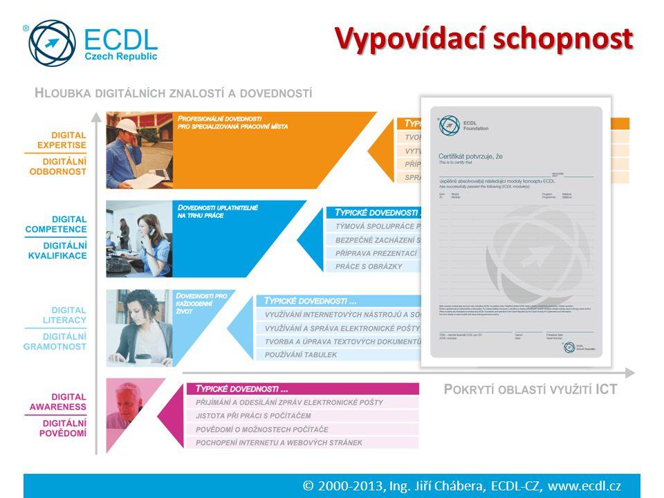 © 2000-2013, Ing. Jiří Chábera, ECDL-CZ, www.ecdl.cz Vypovídací schopnost