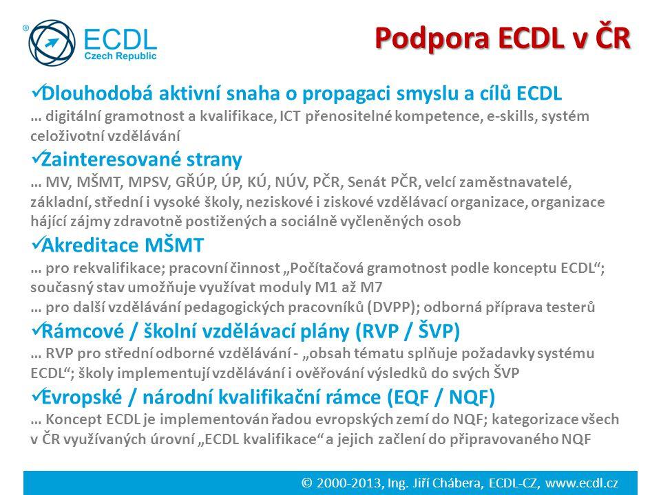 © 2000-2013, Ing. Jiří Chábera, ECDL-CZ, www.ecdl.cz Podpora ECDL v ČR Dlouhodobá aktivní snaha o propagaci smyslu a cílů ECDL … digitální gramotnost