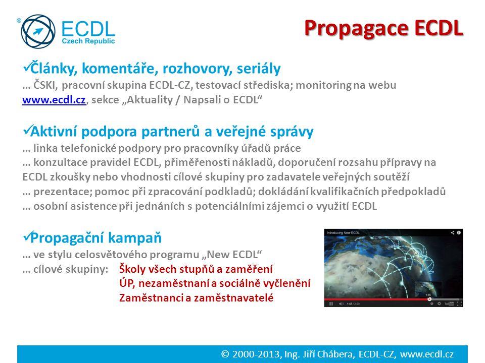 © 2000-2013, Ing. Jiří Chábera, ECDL-CZ, www.ecdl.cz Propagace ECDL Články, komentáře, rozhovory, seriály … ČSKI, pracovní skupina ECDL-CZ, testovací