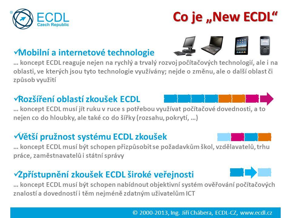 © 2000-2013, Ing. Jiří Chábera, ECDL-CZ, www.ecdl.cz Mobilní a internetové technologie … koncept ECDL reaguje nejen na rychlý a trvalý rozvoj počítačo