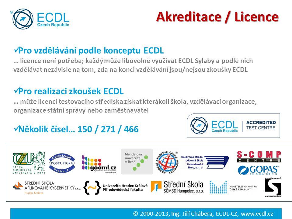 © 2000-2013, Ing. Jiří Chábera, ECDL-CZ, www.ecdl.cz Akreditace / Licence Pro vzdělávání podle konceptu ECDL … licence není potřeba; každý může libovo