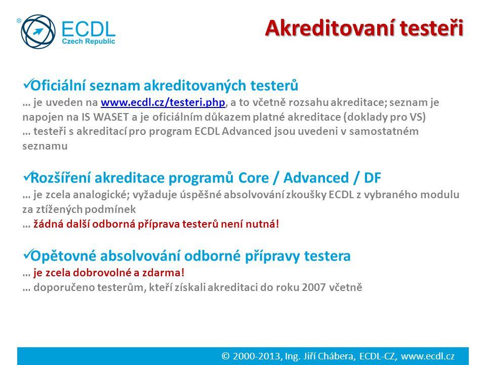 © 2000-2013, Ing. Jiří Chábera, ECDL-CZ, www.ecdl.cz Akreditovaní testeři Oficiální seznam akreditovaných testerů … je uveden na www.ecdl.cz/testeri.p