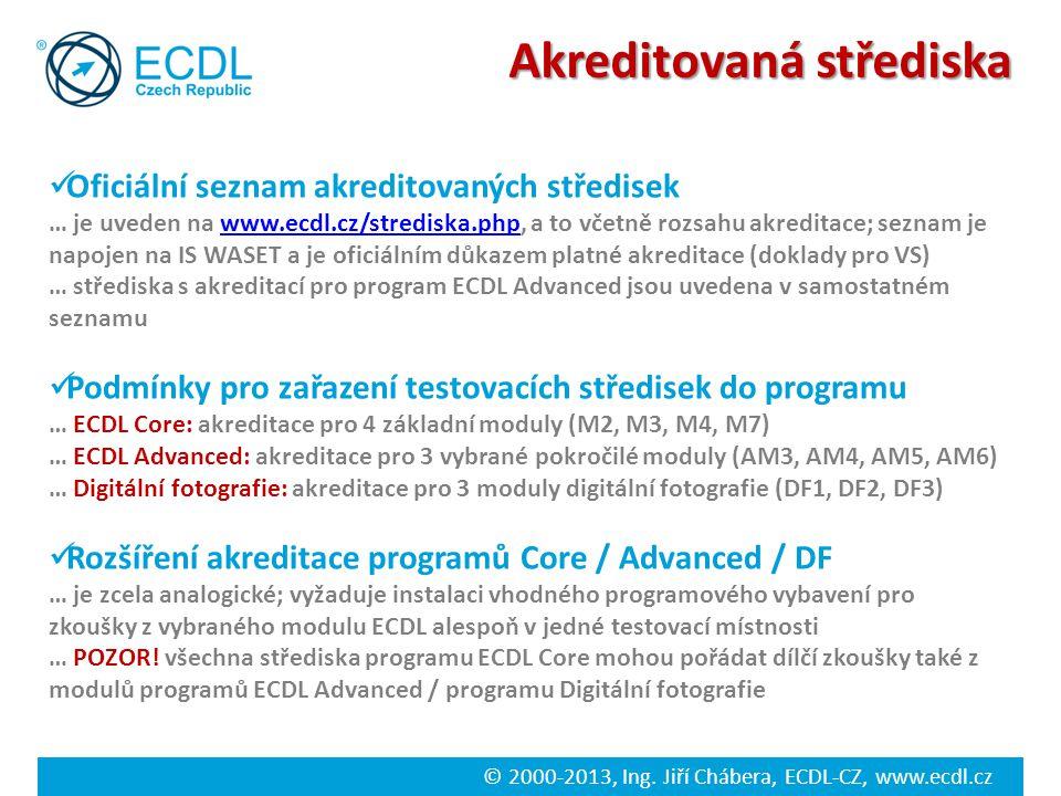 © 2000-2013, Ing. Jiří Chábera, ECDL-CZ, www.ecdl.cz Akreditovaná střediska Oficiální seznam akreditovaných středisek … je uveden na www.ecdl.cz/stred