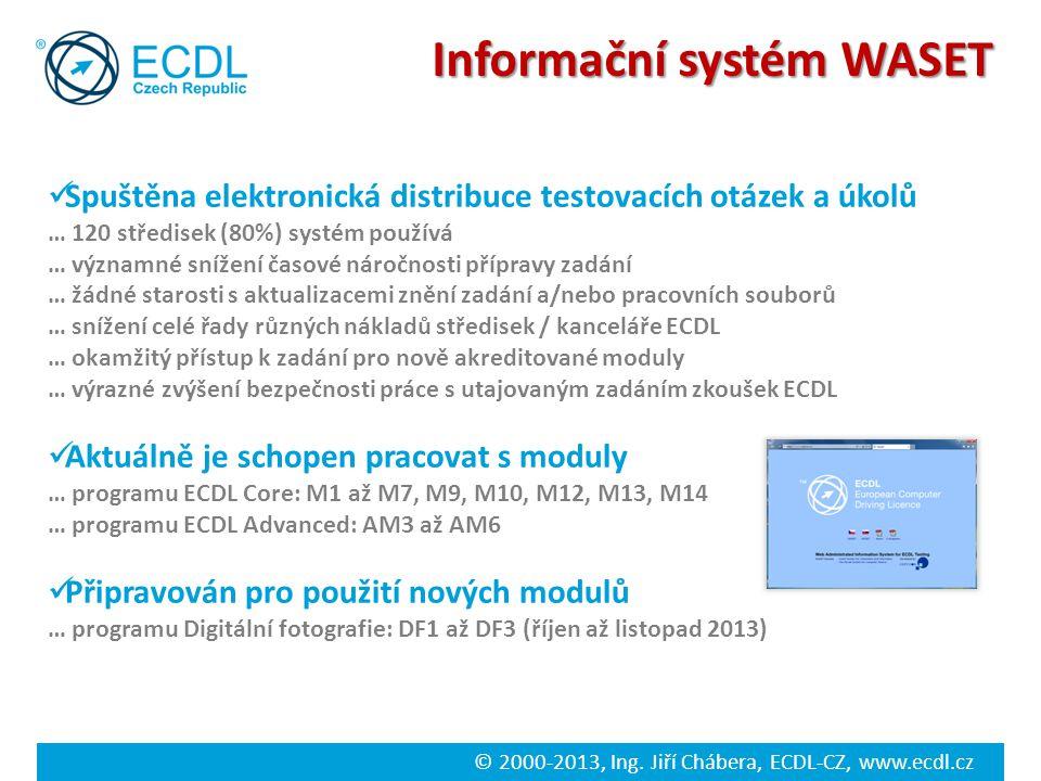 © 2000-2013, Ing. Jiří Chábera, ECDL-CZ, www.ecdl.cz Informační systém WASET Spuštěna elektronická distribuce testovacích otázek a úkolů … 120 středis