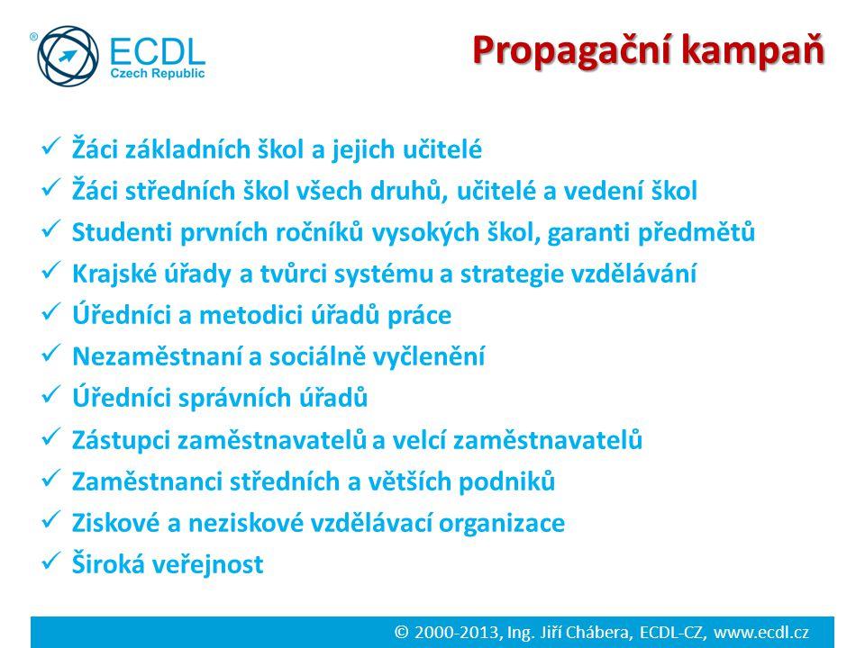 © 2000-2013, Ing. Jiří Chábera, ECDL-CZ, www.ecdl.cz Propagační kampaň Žáci základních škol a jejich učitelé Žáci středních škol všech druhů, učitelé