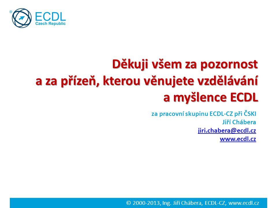 © 2000-2013, Ing. Jiří Chábera, ECDL-CZ, www.ecdl.cz Děkuji všem za pozornost a za přízeň, kterou věnujete vzdělávání a myšlence ECDL a myšlence ECDL