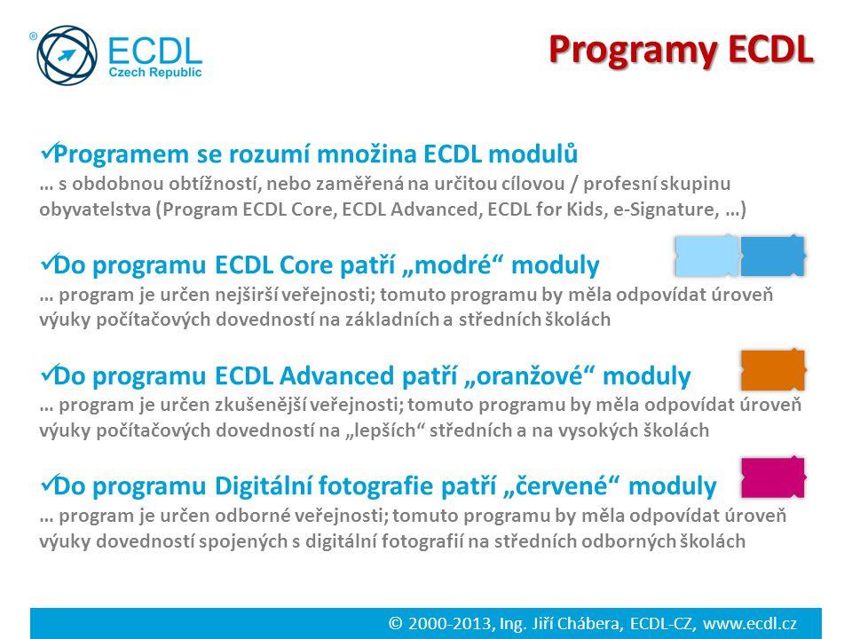© 2000-2013, Ing. Jiří Chábera, ECDL-CZ, www.ecdl.cz Programy ECDL Programem se rozumí množina ECDL modulů … s obdobnou obtížností, nebo zaměřená na u
