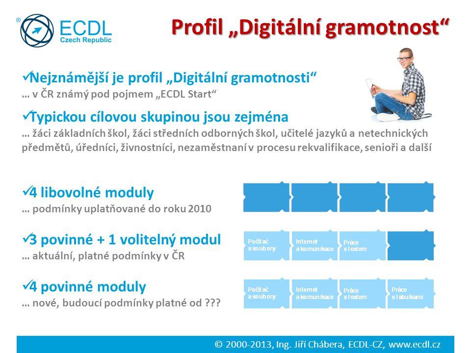 """© 2000-2013, Ing. Jiří Chábera, ECDL-CZ, www.ecdl.cz Profil """"Digitální gramotnost"""" Nejznámější je profil """"Digitální gramotnosti"""" … v ČR známý pod pojm"""