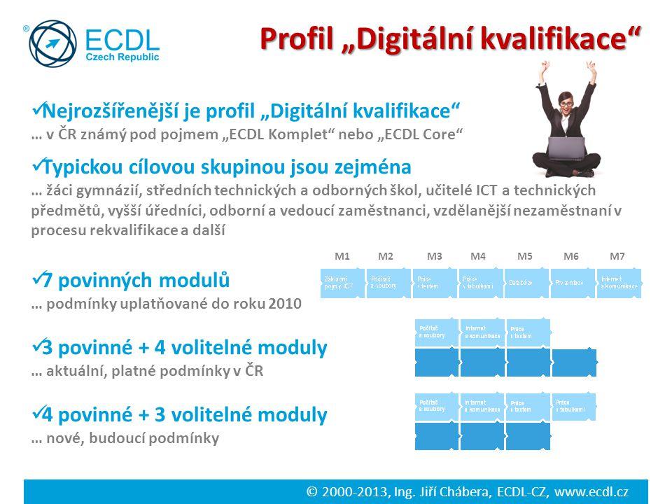 """© 2000-2013, Ing. Jiří Chábera, ECDL-CZ, www.ecdl.cz Profil """"Digitální kvalifikace"""" Nejrozšířenější je profil """"Digitální kvalifikace"""" … v ČR známý pod"""