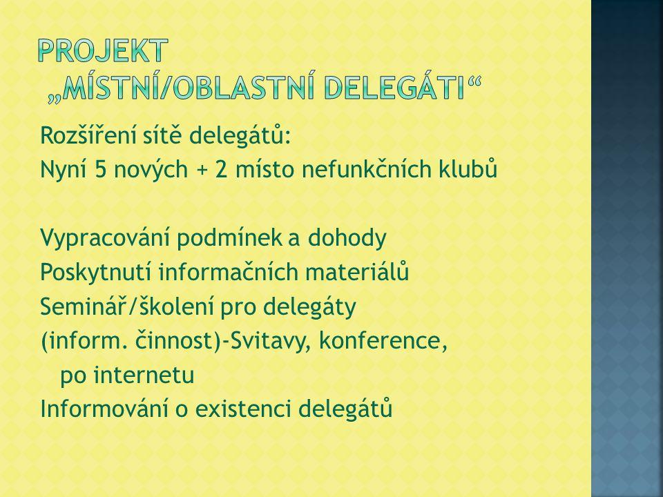 Rozšíření sítě delegátů: Nyní 5 nových + 2 místo nefunkčních klubů Vypracování podmínek a dohody Poskytnutí informačních materiálů Seminář/školení pro delegáty (inform.