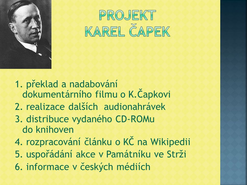 1. překlad a nadabování dokumentárního filmu o K.Čapkovi 2. realizace dalších audionahrávek 3. distribuce vydaného CD-ROMu do knihoven 4. rozpracování