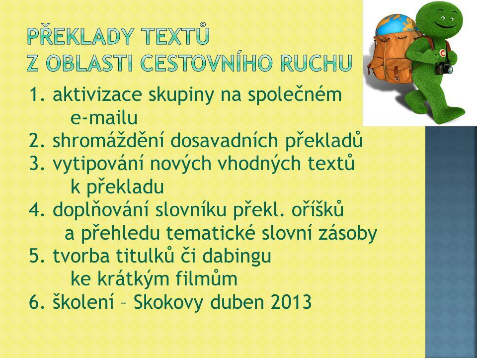 1. aktivizace skupiny na společném e-mailu 2. shromáždění dosavadních překladů 3. vytipování nových vhodných textů k překladu 4. doplňování slovníku p