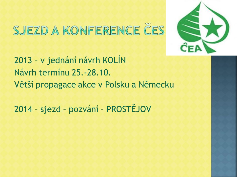 2013 – v jednání návrh KOLÍN Návrh termínu 25.-28.10. Větší propagace akce v Polsku a Německu 2014 – sjezd – pozvání – PROSTĚJOV