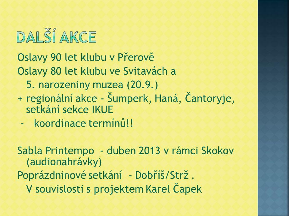 Oslavy 90 let klubu v Přerově Oslavy 80 let klubu ve Svitavách a 5. narozeniny muzea (20.9.) + regionální akce - Šumperk, Haná, Čantoryje, setkání sek