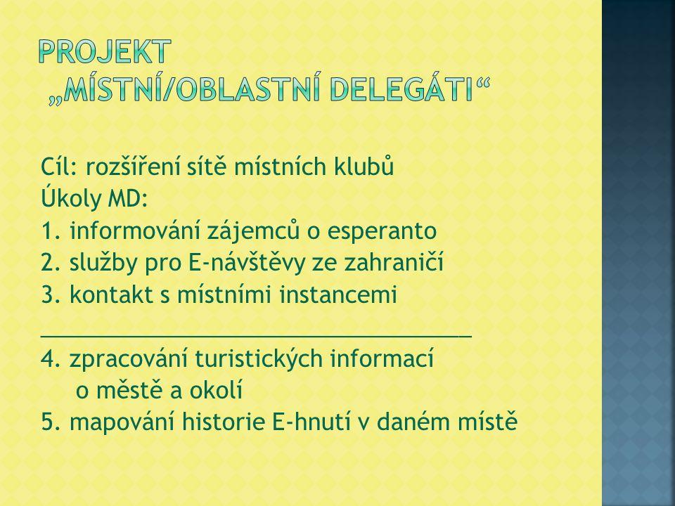 Cíl: rozšíření sítě místních klubů Úkoly MD: 1. informování zájemců o esperanto 2. služby pro E-návštěvy ze zahraničí 3. kontakt s místními instancemi
