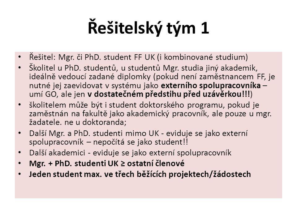Řešitelský tým 1 Řešitel: Mgr. či PhD. student FF UK (i kombinované studium) Školitel u PhD. studentů, u studentů Mgr. studia jiný akademik, ideálně v