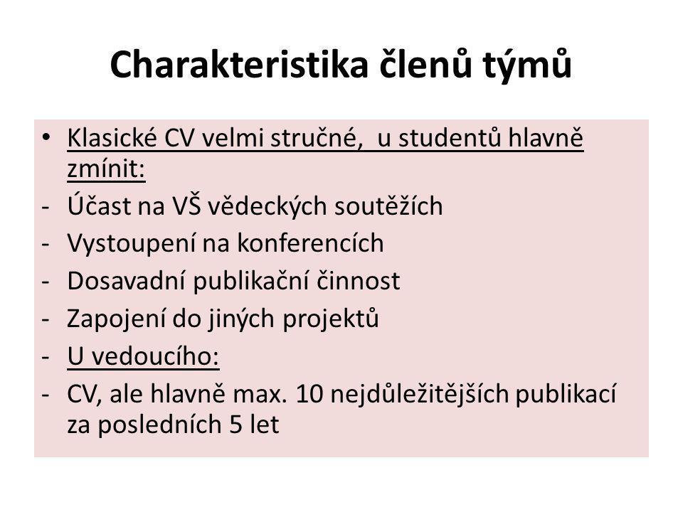 Charakteristika členů týmů Klasické CV velmi stručné, u studentů hlavně zmínit: -Účast na VŠ vědeckých soutěžích -Vystoupení na konferencích -Dosavadn