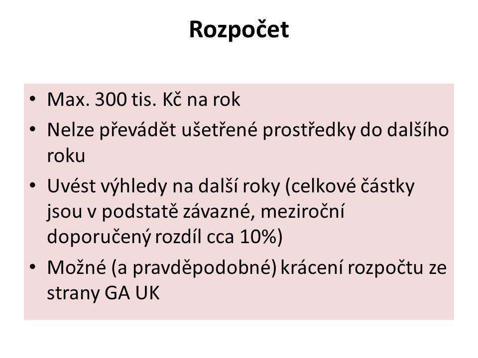 Rozpočet Max. 300 tis. Kč na rok Nelze převádět ušetřené prostředky do dalšího roku Uvést výhledy na další roky (celkové částky jsou v podstatě závazn