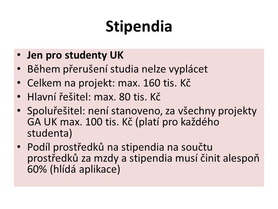 Stipendia Jen pro studenty UK Během přerušení studia nelze vyplácet Celkem na projekt: max. 160 tis. Kč Hlavní řešitel: max. 80 tis. Kč Spoluřešitel: