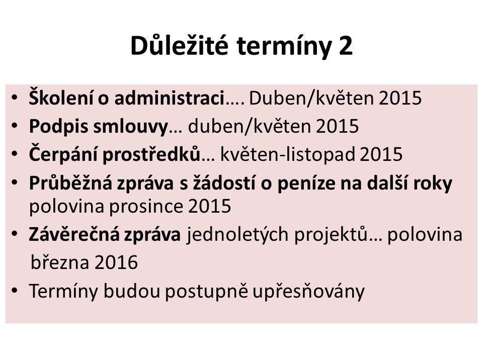 Důležité termíny 2 Školení o administraci…. Duben/květen 2015 Podpis smlouvy… duben/květen 2015 Čerpání prostředků… květen-listopad 2015 Průběžná zprá