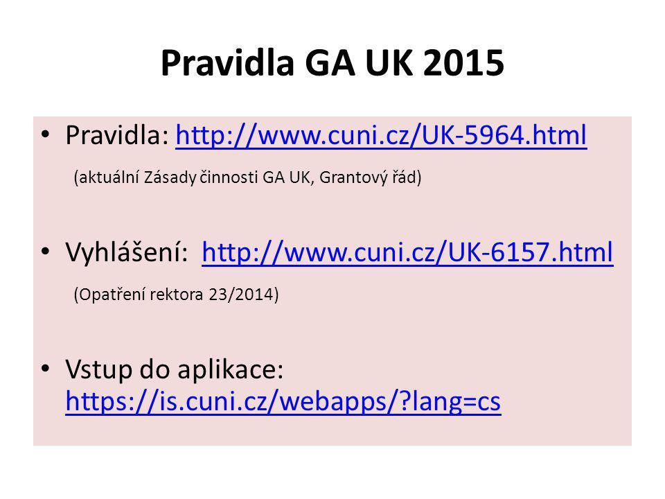 Pravidla GA UK 2015 Pravidla: http://www.cuni.cz/UK-5964.htmlhttp://www.cuni.cz/UK-5964.html (aktuální Zásady činnosti GA UK, Grantový řád) Vyhlášení:
