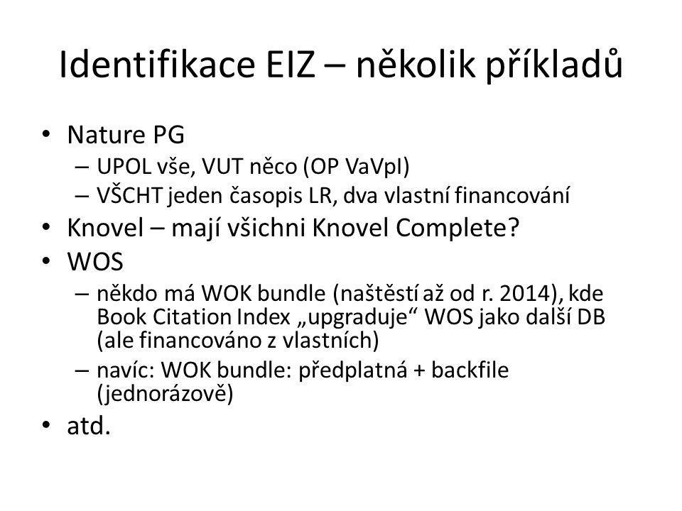 Identifikace EIZ – několik příkladů Nature PG – UPOL vše, VUT něco (OP VaVpI) – VŠCHT jeden časopis LR, dva vlastní financování Knovel – mají všichni Knovel Complete.