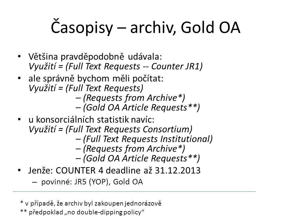 """Časopisy – archiv, Gold OA Většina pravděpodobně udávala: Využití = (Full Text Requests -- Counter JR1) ale správně bychom měli počítat: Využití = (Full Text Requests) – (Requests from Archive*) – (Gold OA Article Requests**) u konsorciálních statistik navíc: Využití = (Full Text Requests Consortium) – (Full Text Requests Institutional) – (Requests from Archive*) – (Gold OA Article Requests**) Jenže: COUNTER 4 deadline až 31.12.2013 – povinné: JR5 (YOP), Gold OA * v případě, že archiv byl zakoupen jednorázově ** předpoklad """"no double-dipping policy"""