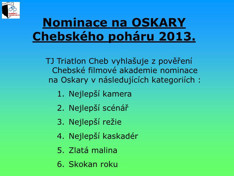 Nominace na OSKARY Chebského poháru 2013. TJ Triatlon Cheb vyhlašuje z pověření Chebské filmové akademie nominace na Oskary v následujících kategoriíc