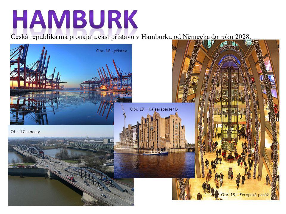 Obr. 18 – Evropská pasáž Česká republika má pronajatu část přístavu v Hamburku od Německa do roku 2028. Obr. 16 - přístavObr. 17 - mosty Obr. 19 – Kai