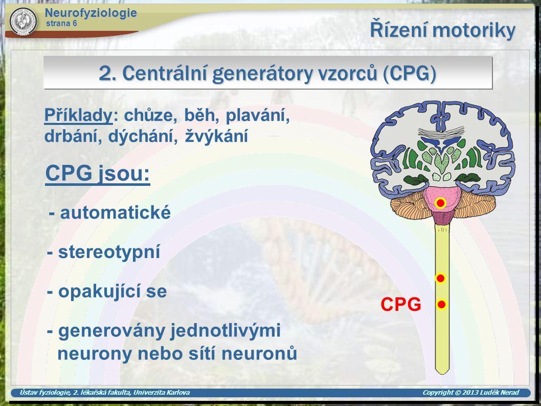 Ústav fyziologie, 2. lékařská fakulta, Univerzita Karlova Copyright © 2013 Luděk Nerad Řízení motoriky Neurofyziologie strana 6 2. Centrální generátor