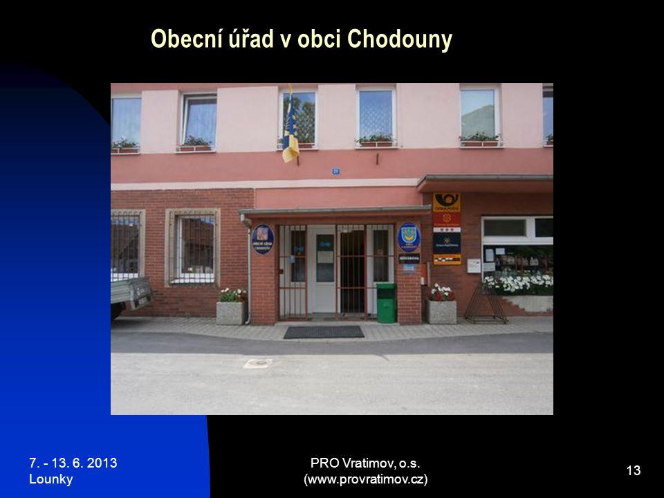 7. - 13. 6. 2013 Lounky PRO Vratimov, o.s. (www.provratimov.cz) 13 Obecní úřad v obci Chodouny