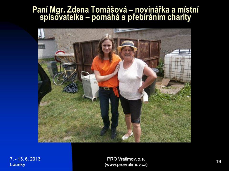 7. - 13. 6. 2013 Lounky PRO Vratimov, o.s. (www.provratimov.cz) 19 Paní Mgr.