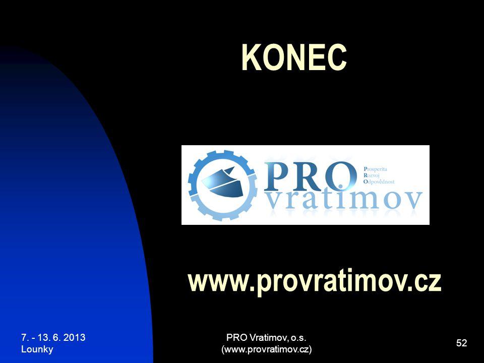 7. - 13. 6. 2013 Lounky PRO Vratimov, o.s. (www.provratimov.cz) 52 KONEC www.provratimov.cz