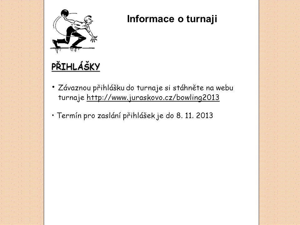 Informace o turnaji PŘIHLÁŠKY Závaznou přihlášku do turnaje si stáhněte na webu turnaje http://www.juraskovo.cz/bowling2013http://www.juraskovo.cz/bowling2013 Termín pro zaslání přihlášek je do 8.
