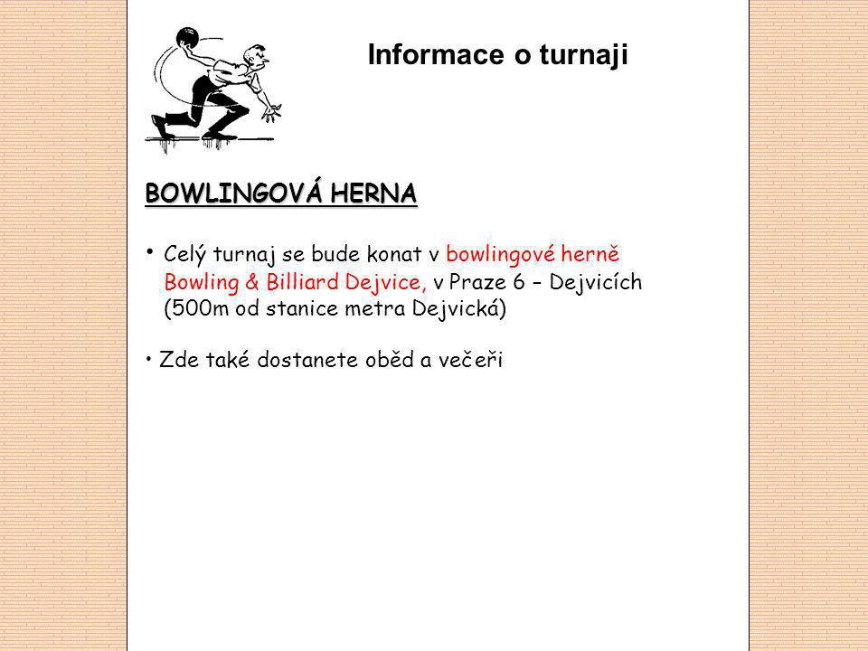 Informace o turnaji BOWLINGOVÁ HERNA Celý turnaj se bude konat v bowlingové herně Bowling & Billiard Dejvice, v Praze 6 – Dejvicích (500m od stanice metra Dejvická) Zde také dostanete oběd a večeři