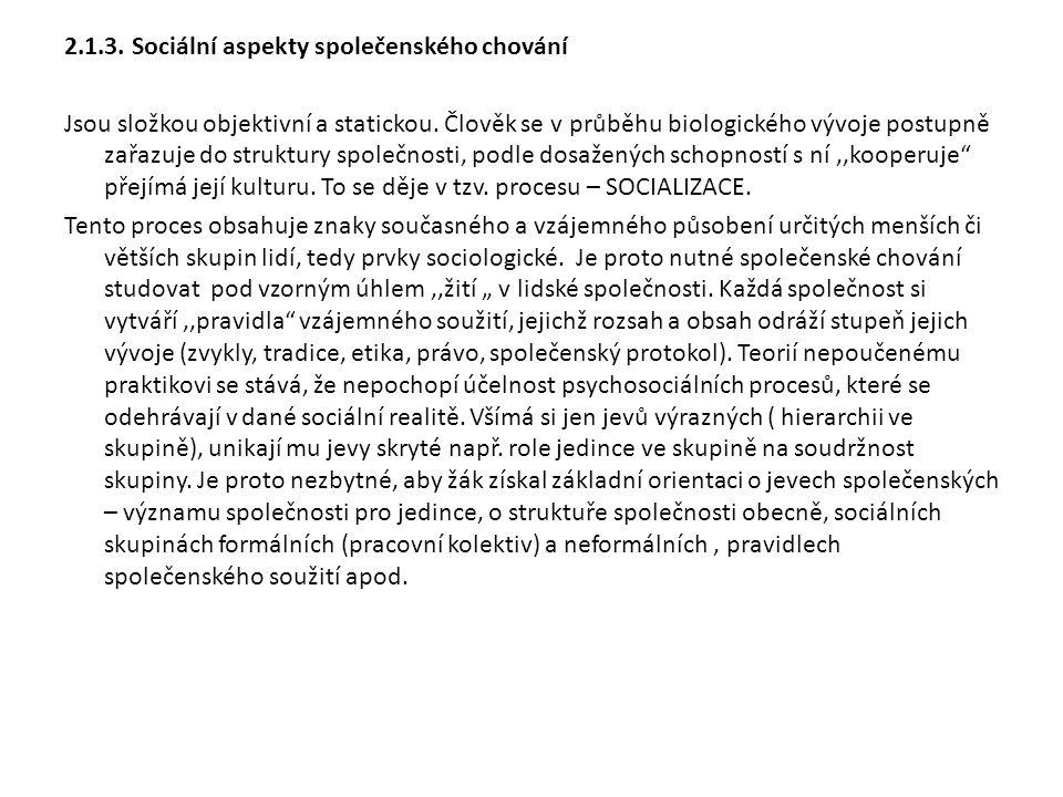 2.1.3.Sociální aspekty společenského chování Jsou složkou objektivní a statickou.