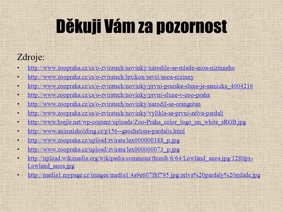 Děkuji Vám za pozornost Zdroje: http://www.zoopraha.cz/cs/o-zviratech/novinky/narodilo-se-mlade-anoa-nizinneho http://www.zoopraha.cz/cs/o-zviratech/l